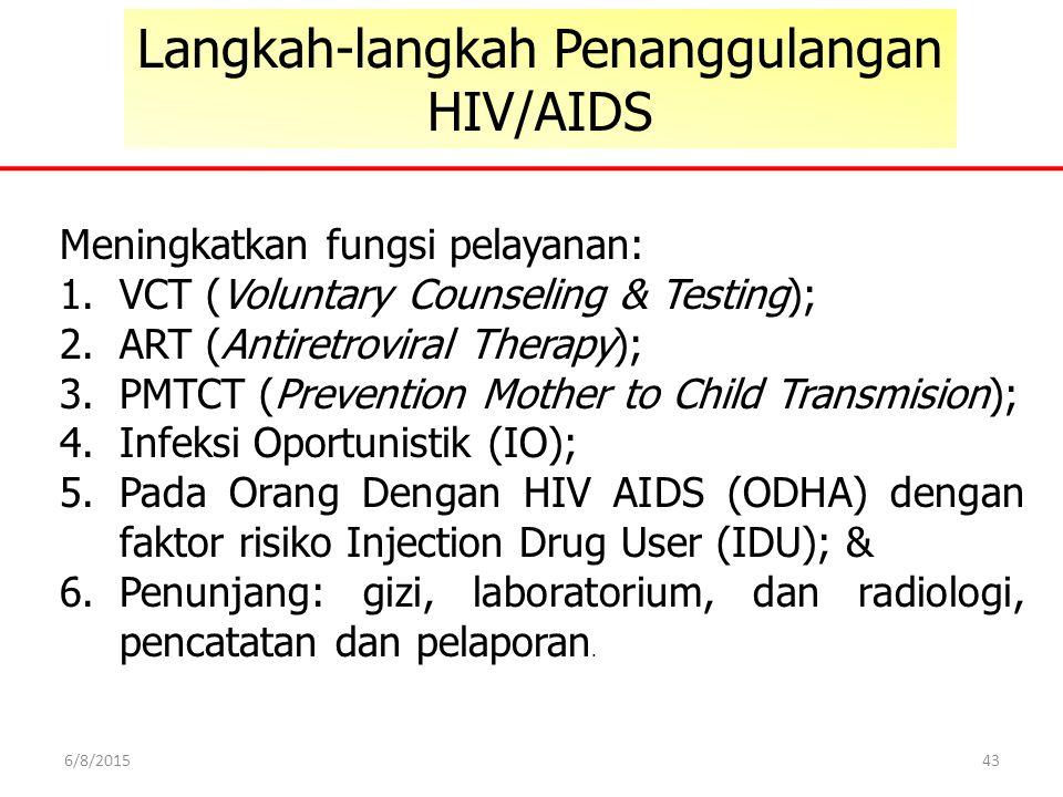 43 Langkah-langkah Penanggulangan HIV/AIDS Meningkatkan fungsi pelayanan: 1.VCT (Voluntary Counseling & Testing); 2.ART (Antiretroviral Therapy); 3.PM