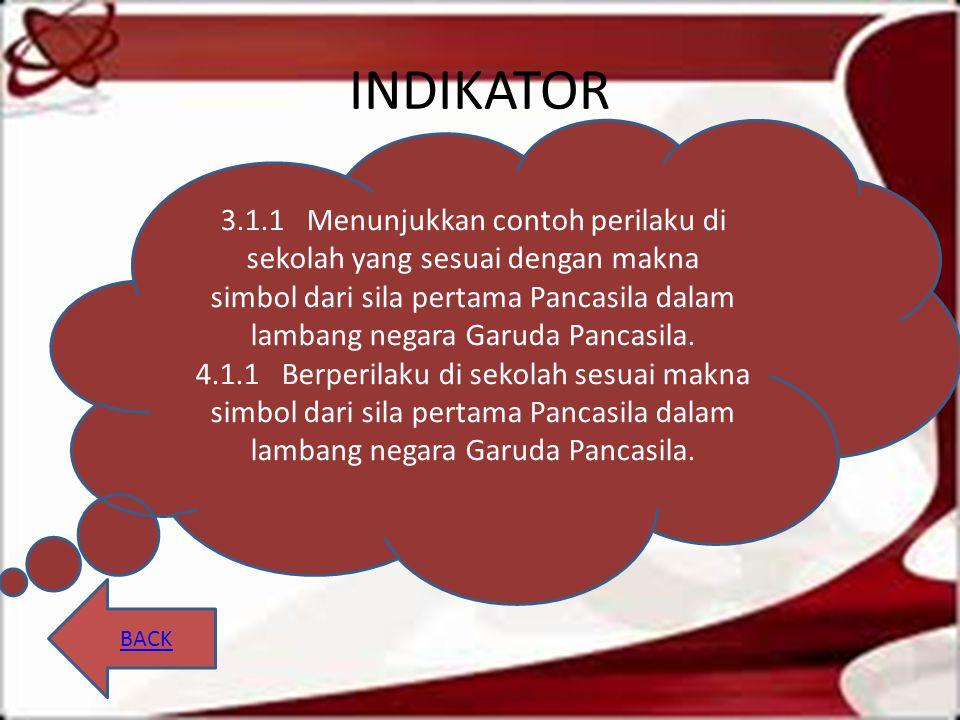 INDIKATOR BACK 3.1.1 Menunjukkan contoh perilaku di sekolah yang sesuai dengan makna simbol dari sila pertama Pancasila dalam lambang negara Garuda Pa