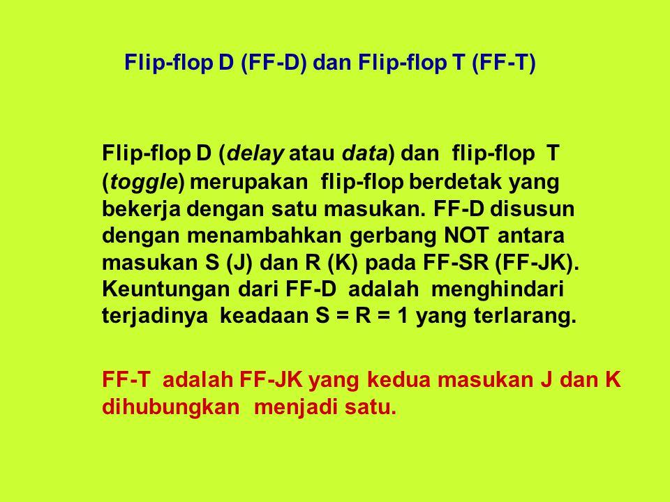 Flip-flop D (delay atau data) dan flip-flop T (toggle) merupakan flip-flop berdetak yang bekerja dengan satu masukan.
