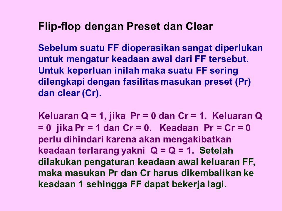 Flip-flop dengan Preset dan Clear Sebelum suatu FF dioperasikan sangat diperlukan untuk mengatur keadaan awal dari FF tersebut.