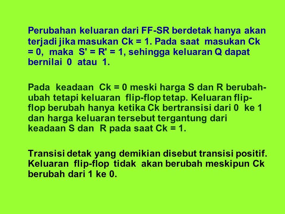 Perubahan keluaran dari FF-SR berdetak hanya akan terjadi jika masukan Ck = 1.