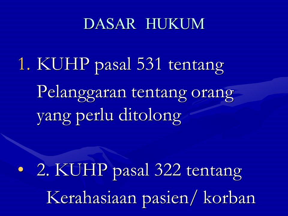 DASAR HUKUM 1.KUHP pasal 531 tentang Pelanggaran tentang orang yang perlu ditolong Pelanggaran tentang orang yang perlu ditolong 2. KUHP pasal 322 ten