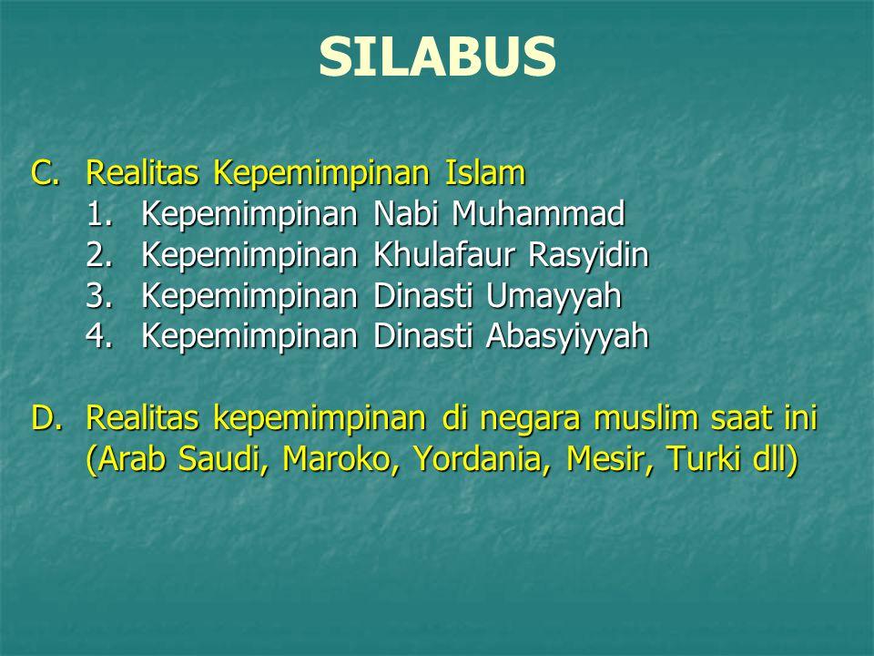 SILABUS C.Realitas Kepemimpinan Islam 1.Kepemimpinan Nabi Muhammad 2.Kepemimpinan Khulafaur Rasyidin 3.Kepemimpinan Dinasti Umayyah 4.Kepemimpinan Din