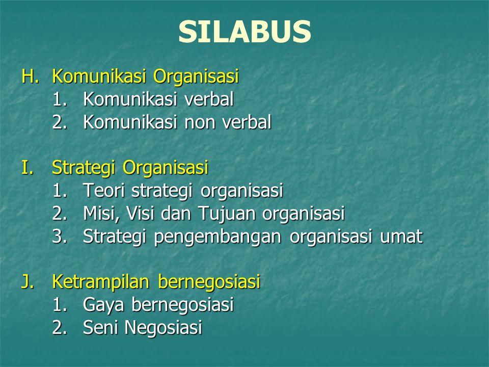 SILABUS H.Komunikasi Organisasi 1.Komunikasi verbal 2.Komunikasi non verbal I.Strategi Organisasi 1.Teori strategi organisasi 2.Misi, Visi dan Tujuan