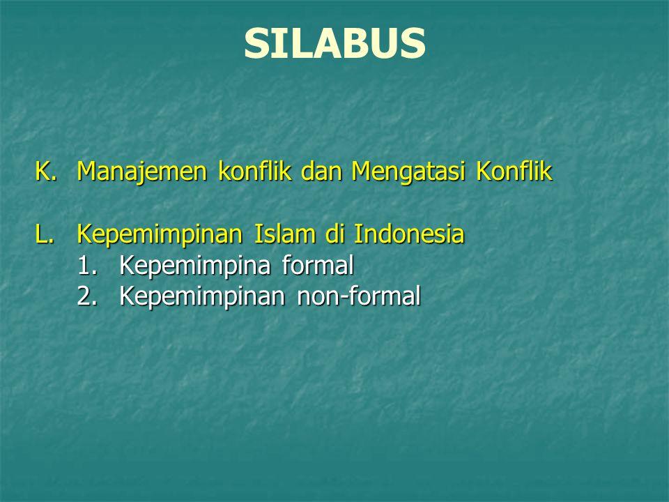 SILABUS K.Manajemen konflik dan Mengatasi Konflik L.Kepemimpinan Islam di Indonesia 1.Kepemimpina formal 2.Kepemimpinan non-formal