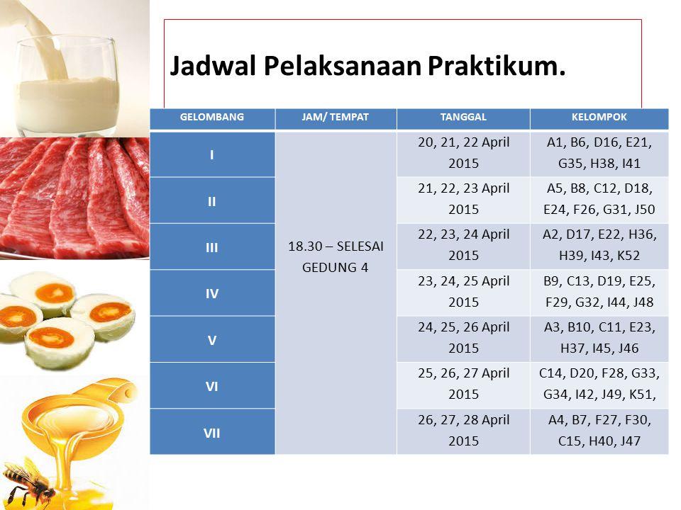 Jadwal Pelaksanaan Praktikum. GELOMBANGJAM/ TEMPATTANGGALKELOMPOK I 18.30 – SELESAI GEDUNG 4 20, 21, 22 April 2015 A1, B6, D16, E21, G35, H38, I41 II