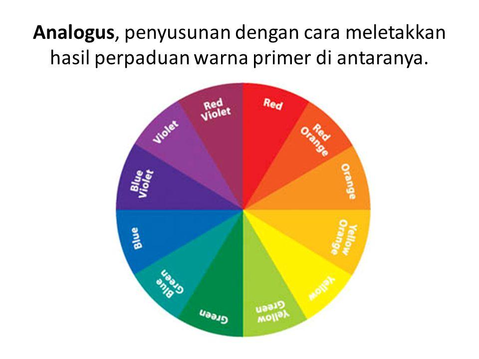 Analogus, penyusunan dengan cara meletakkan hasil perpaduan warna primer di antaranya.