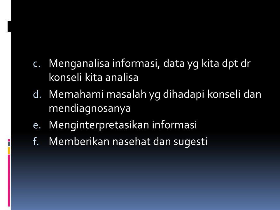 c. Menganalisa informasi, data yg kita dpt dr konseli kita analisa d. Memahami masalah yg dihadapi konseli dan mendiagnosanya e. Menginterpretasikan i