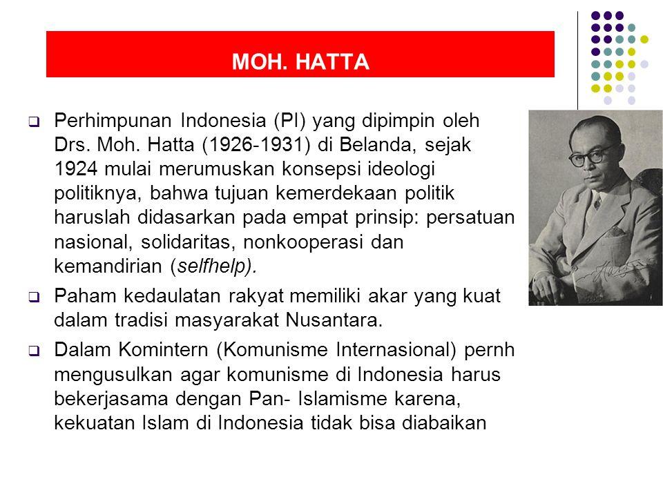 MOH.HATTA  Perhimpunan Indonesia (PI) yang dipimpin oleh Drs.