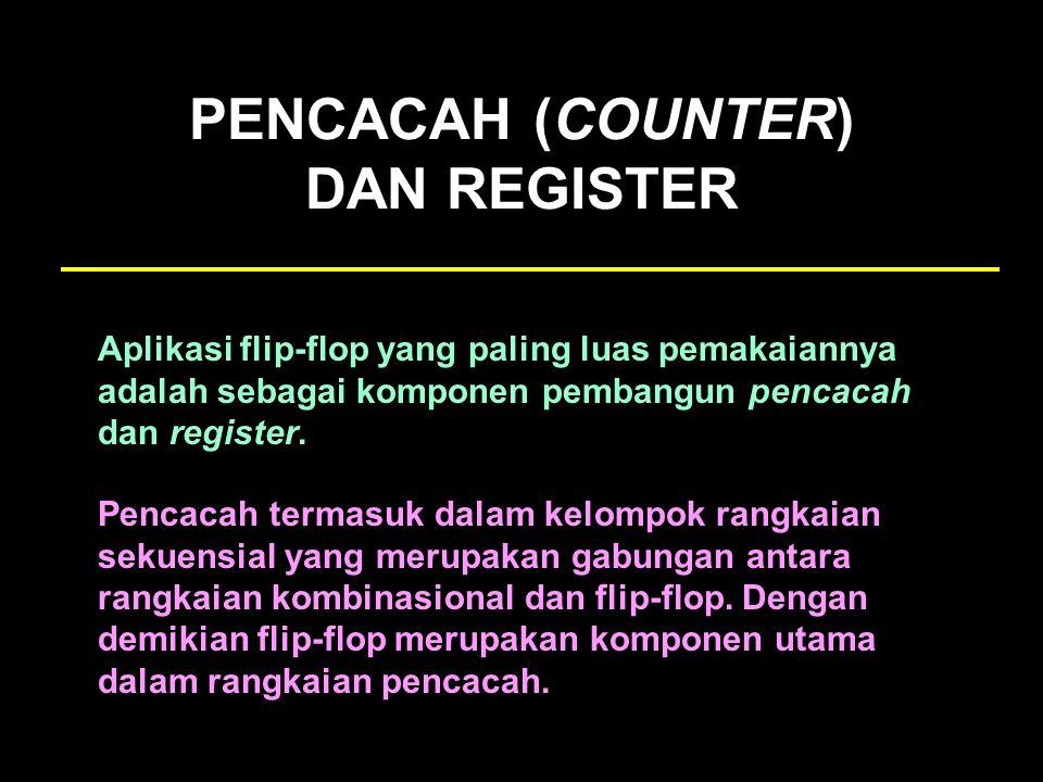 PENCACAH (COUNTER) DAN REGISTER Aplikasi flip-flop yang paling luas pemakaiannya adalah sebagai komponen pembangun pencacah dan register. Pencacah ter