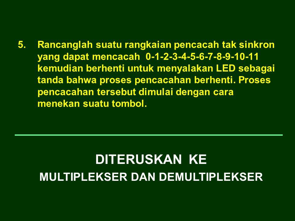 5.Rancanglah suatu rangkaian pencacah tak sinkron yang dapat mencacah 0-1-2-3-4-5-6-7-8-9-10-11 kemudian berhenti untuk menyalakan LED sebagai tanda b