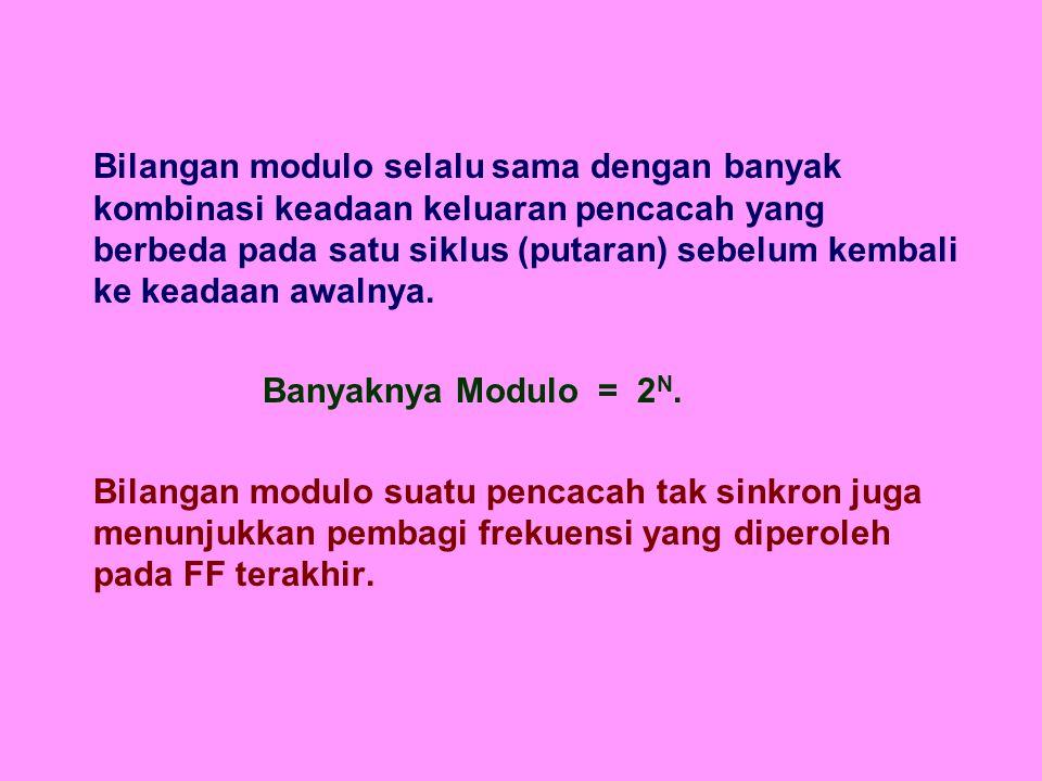 Bila diingikan pencacah dengan bilangan modulo yang lebih kecil dari pada 2 N maka dapat dilakukan dengan memodifikasi pencacah modulo 2 N.