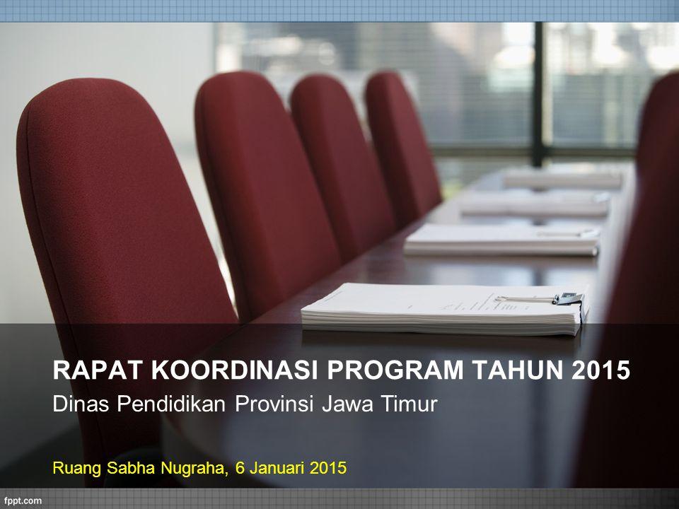 RAPAT KOORDINASI PROGRAM TAHUN 2015 Dinas Pendidikan Provinsi Jawa Timur Ruang Sabha Nugraha, 6 Januari 2015