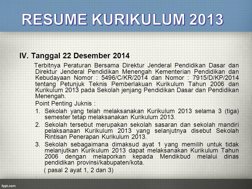 IV. Tanggal 22 Desember 2014 Terbitnya Peraturan Bersama Direktur Jenderal Pendidikan Dasar dan Direktur Jenderal Pendidikan Menengah Kementerian Pend