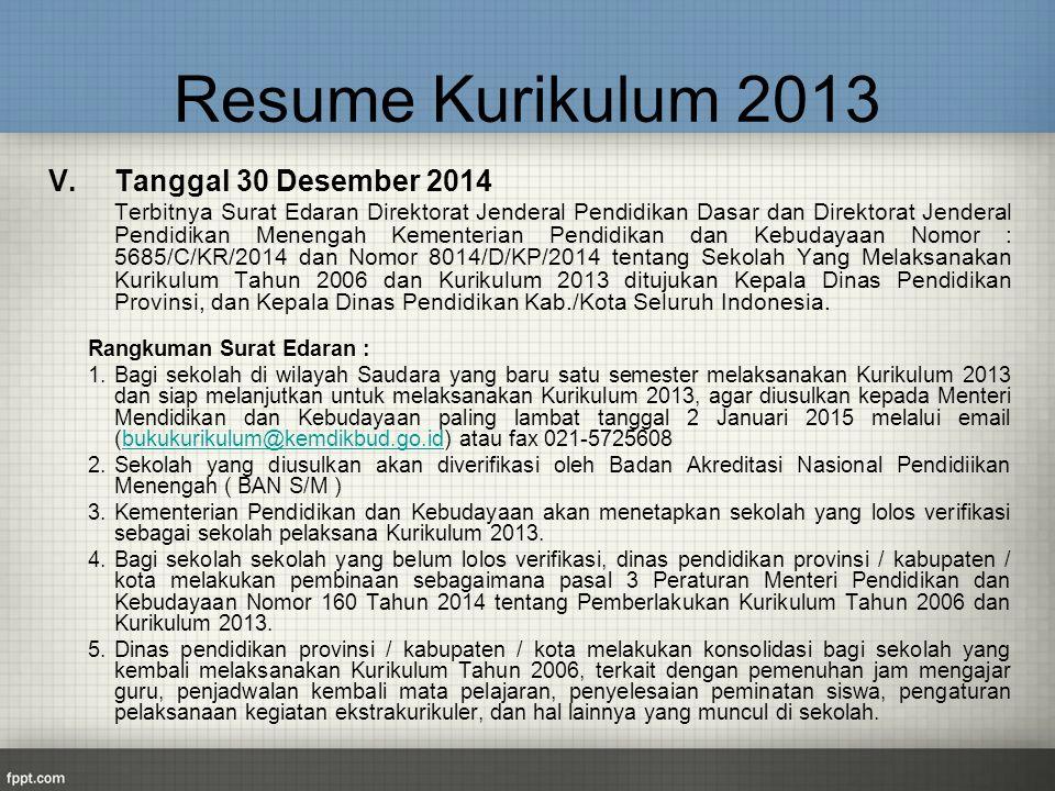 Resume Kurikulum 2013 V. Tanggal 30 Desember 2014 Terbitnya Surat Edaran Direktorat Jenderal Pendidikan Dasar dan Direktorat Jenderal Pendidikan Menen