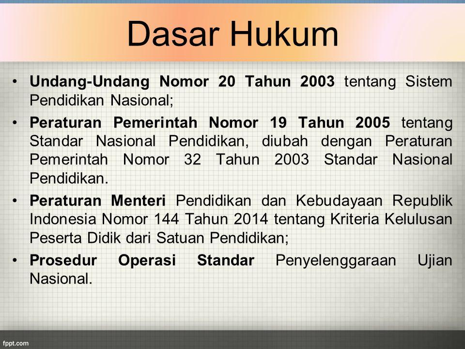 Undang-Undang Nomor 20 Tahun 2003 tentang Sistem Pendidikan Nasional; Peraturan Pemerintah Nomor 19 Tahun 2005 tentang Standar Nasional Pendidikan, di