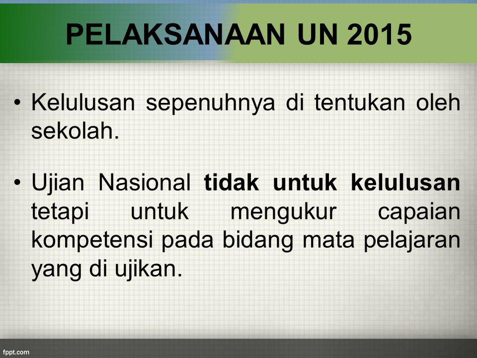 Kelulusan sepenuhnya di tentukan oleh sekolah. Ujian Nasional tidak untuk kelulusan tetapi untuk mengukur capaian kompetensi pada bidang mata pelajara