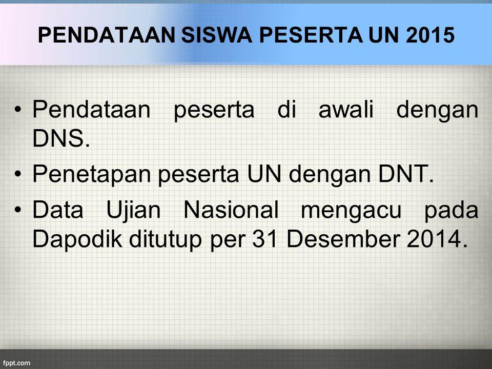 Pendataan peserta di awali dengan DNS. Penetapan peserta UN dengan DNT. Data Ujian Nasional mengacu pada Dapodik ditutup per 31 Desember 2014. PENDATA