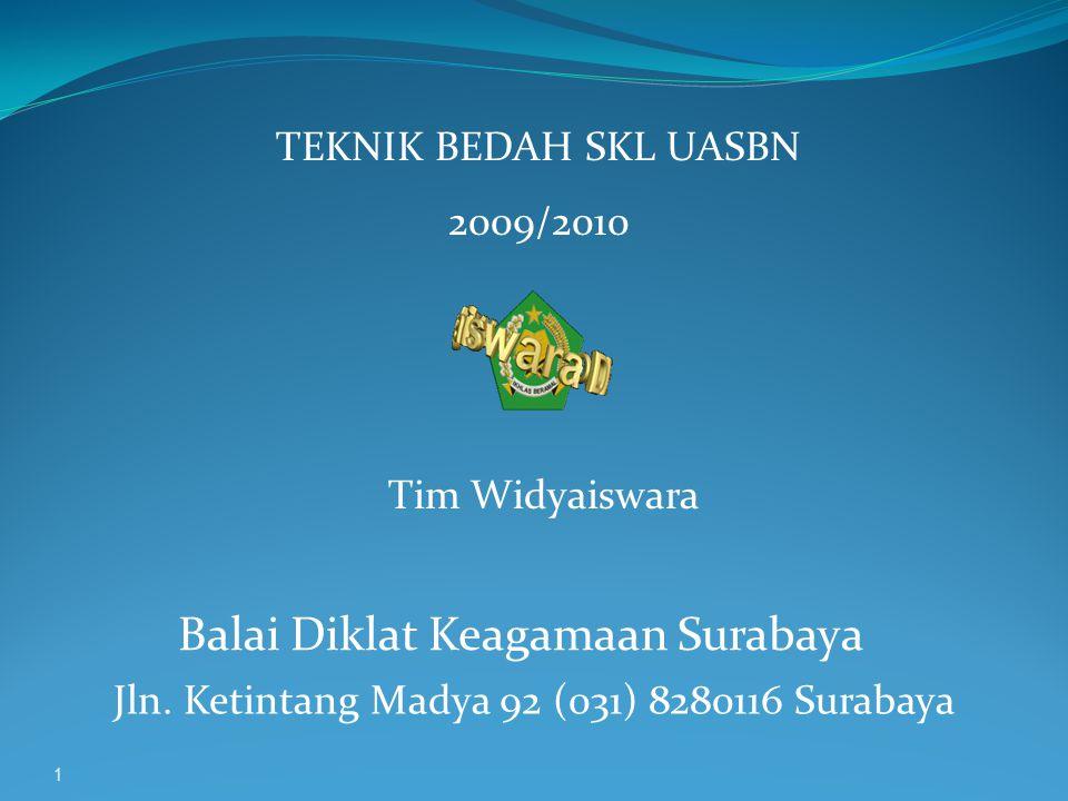 1 TEKNIK BEDAH SKL UASBN 2009/2010 Tim Widyaiswara Balai Diklat Keagamaan Surabaya Jln.