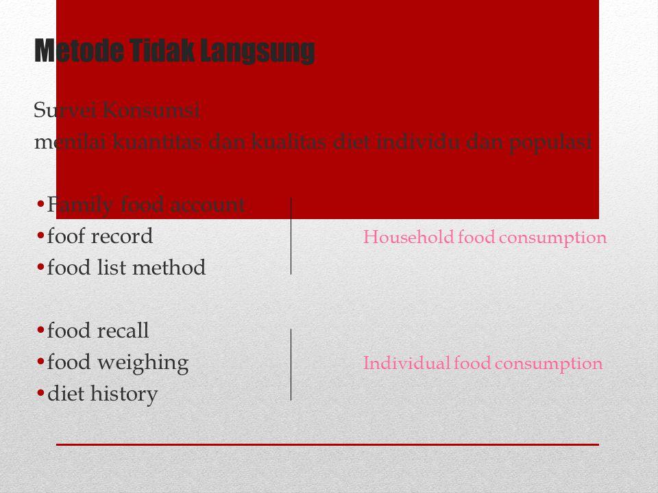 Metode Tidak Langsung Survei Konsumsi menilai kuantitas dan kualitas diet individu dan populasi Family food account foof record Household food consump