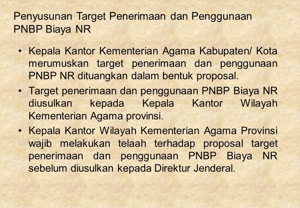 Kepala Kantor Kementerian Agama Kabupaten/ Kota merumuskan target penerimaan dan penggunaan PNBP NR dituangkan dalam bentuk proposal. Target penerimaa