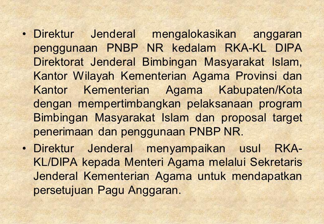 Direktur Jenderal mengalokasikan anggaran penggunaan PNBP NR kedalam RKA-KL DIPA Direktorat Jenderal Bimbingan Masyarakat Islam, Kantor Wilayah Kement