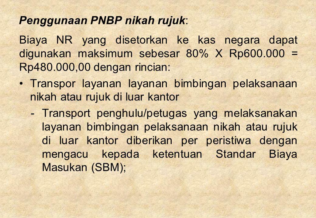Penggunaan PNBP nikah rujuk: Biaya NR yang disetorkan ke kas negara dapat digunakan maksimum sebesar 80% X Rp600.000 = Rp480.000,00 dengan rincian: Tr