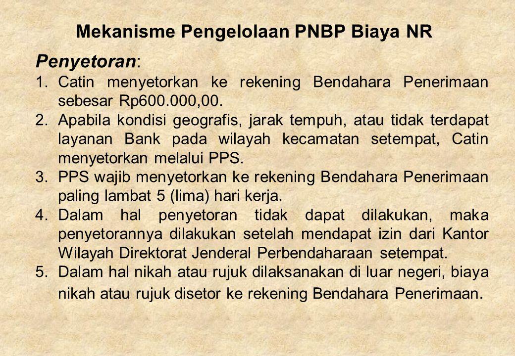 Mekanisme Pengelolaan PNBP Biaya NR Penyetoran: 1.Catin menyetorkan ke rekening Bendahara Penerimaan sebesar Rp600.000,00. 2.Apabila kondisi geografis