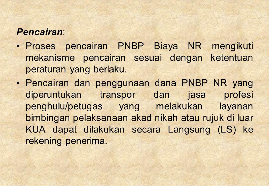 Pencairan: Proses pencairan PNBP Biaya NR mengikuti mekanisme pencairan sesuai dengan ketentuan peraturan yang berlaku. Pencairan dan penggunaan dana