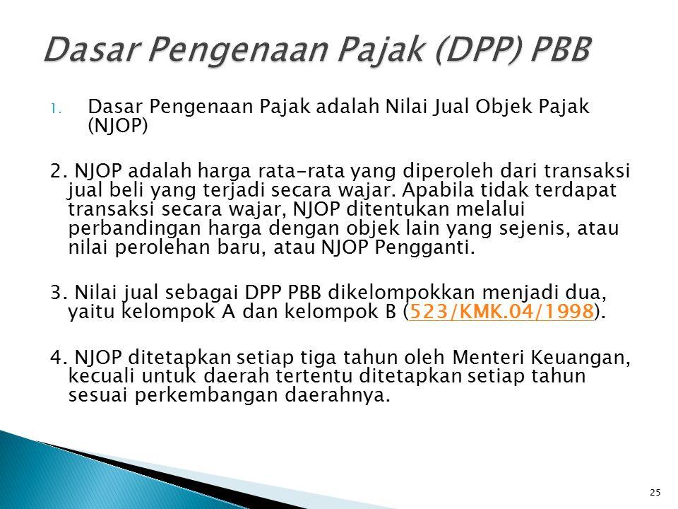 1. Dasar Pengenaan Pajak adalah Nilai Jual Objek Pajak (NJOP) 2. NJOP adalah harga rata-rata yang diperoleh dari transaksi jual beli yang terjadi seca