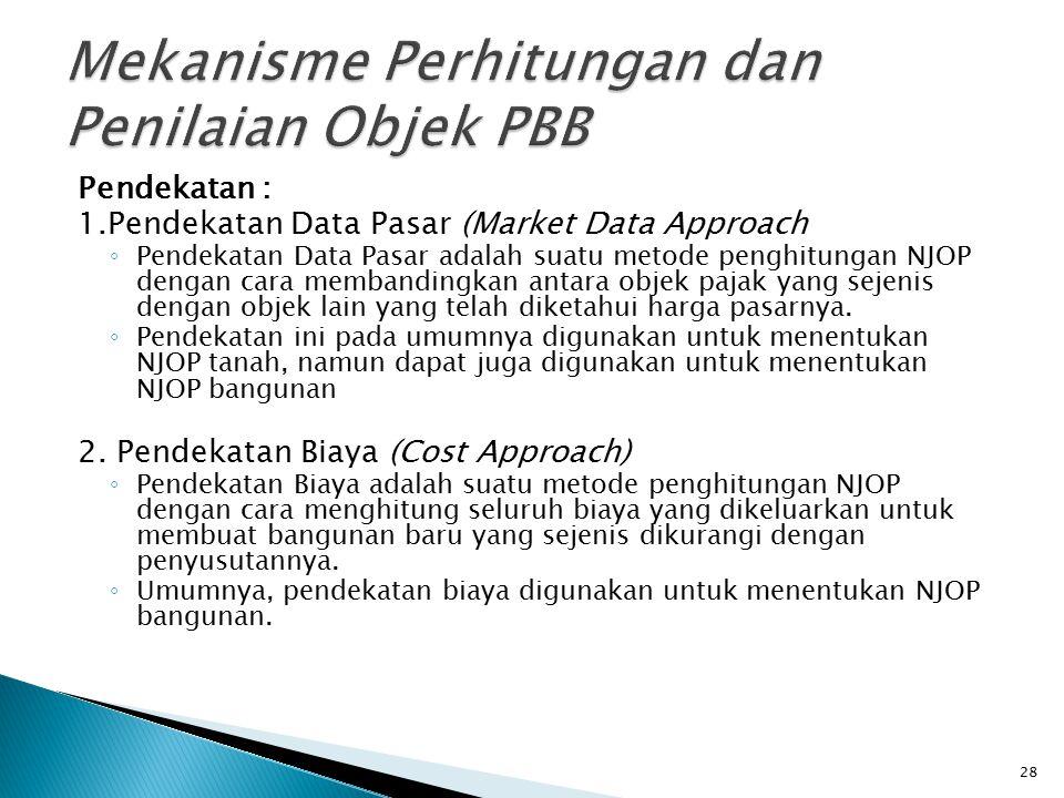 Pendekatan : 1.Pendekatan Data Pasar (Market Data Approach ◦ Pendekatan Data Pasar adalah suatu metode penghitungan NJOP dengan cara membandingkan ant