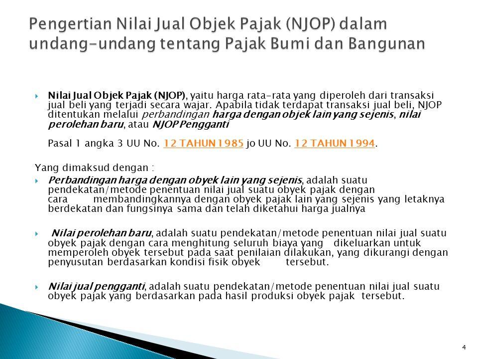  Nilai Jual Objek Pajak (NJOP), yaitu harga rata-rata yang diperoleh dari transaksi jual beli yang terjadi secara wajar. Apabila tidak terdapat trans