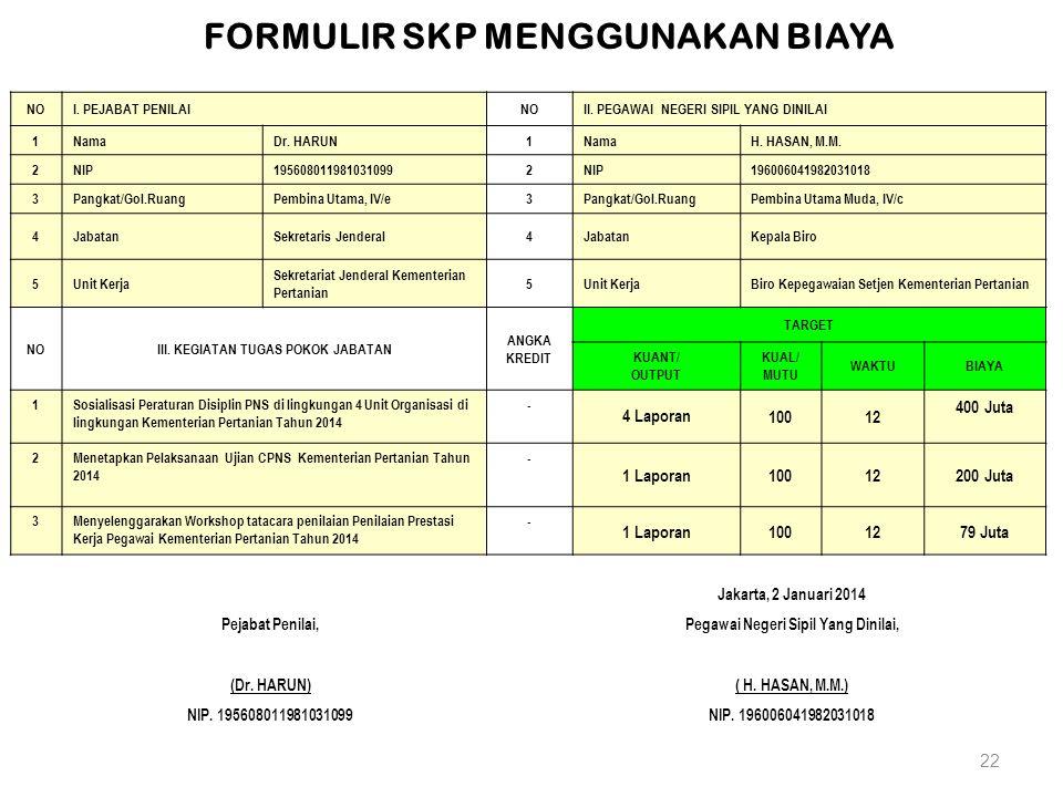 22 Jakarta, 2 Januari 2014 Pejabat Penilai,Pegawai Negeri Sipil Yang Dinilai, (Dr. HARUN)( H. HASAN, M.M.) NIP. 195608011981031099NIP. 196006041982031