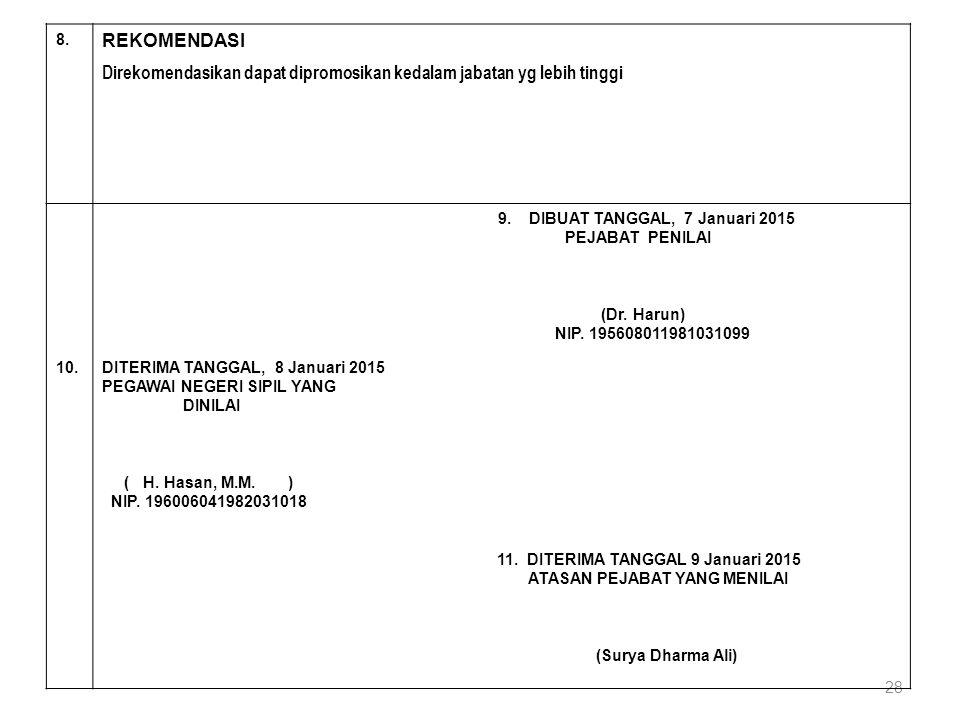 28 8. REKOMENDASI Direkomendasikan dapat dipromosikan kedalam jabatan yg lebih tinggi 9. DIBUAT TANGGAL, 7 Januari 2015 PEJABAT PENILAI (Dr. Harun) NI