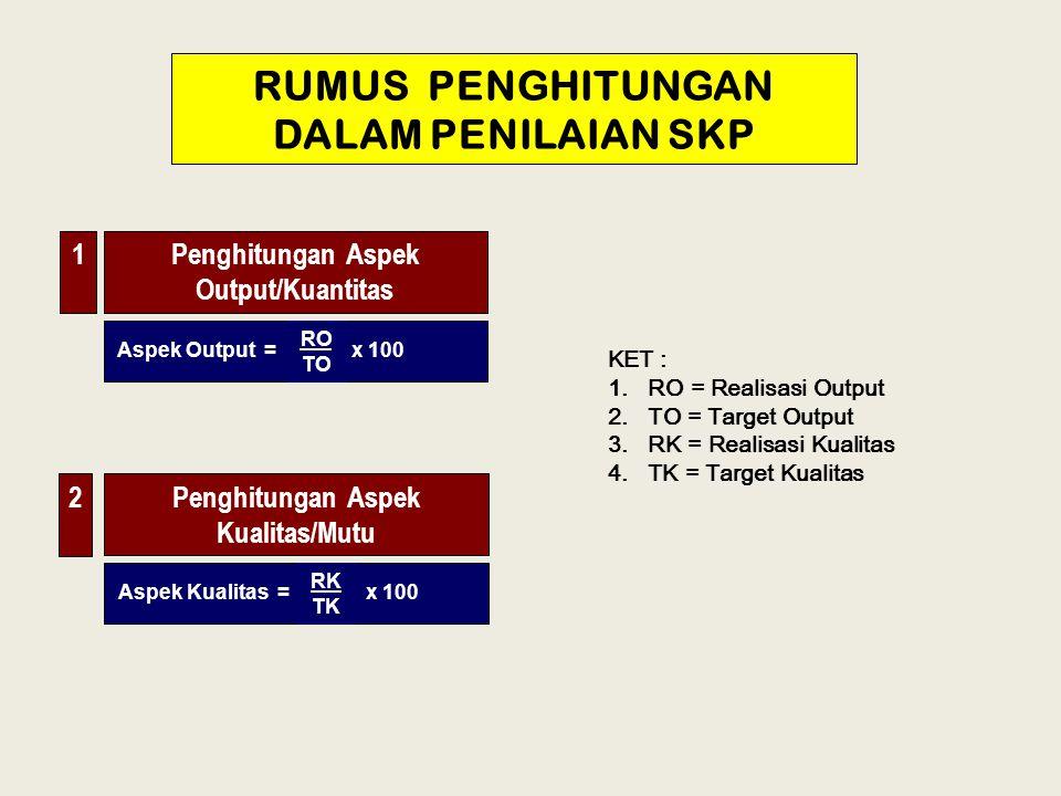 RUMUS PENGHITUNGAN DALAM PENILAIAN SKP Penghitungan Aspek Output/Kuantitas x 100 KET : 1. RO = Realisasi Output 2. TO = Target Output 3. RK = Realisas