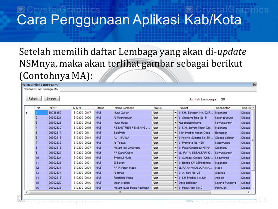 Setelah memilih daftar Lembaga yang akan di-update NSMnya, maka akan terlihat gambar sebagai berikut (Contohnya MA): Cara Penggunaan Aplikasi Kab/Kota