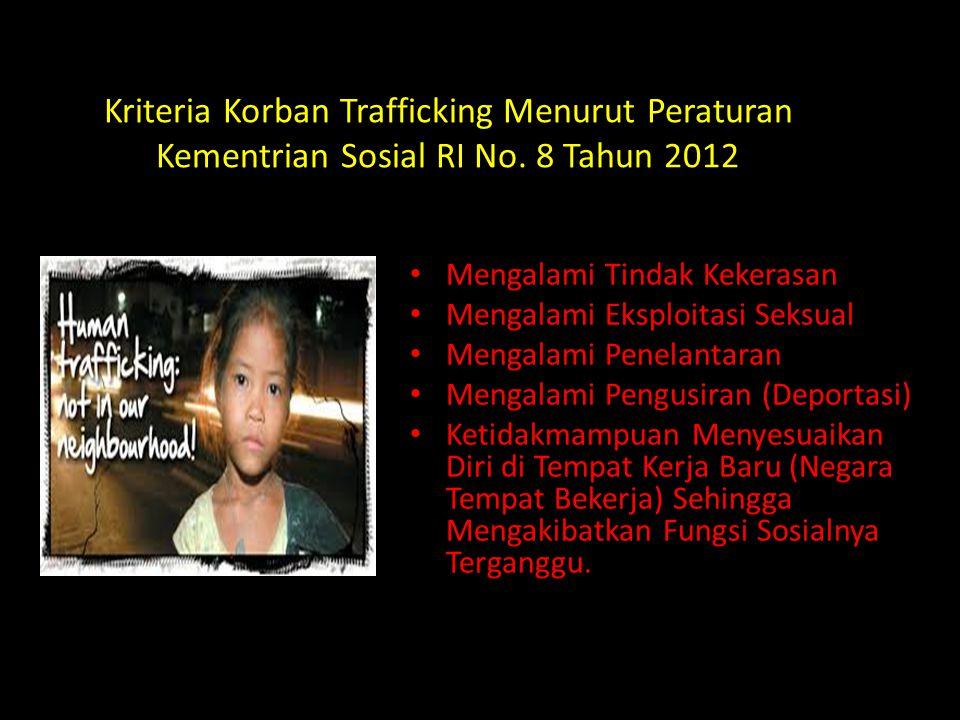 Kriteria Korban Trafficking Menurut Peraturan Kementrian Sosial RI No. 8 Tahun 2012 Mengalami Tindak Kekerasan Mengalami Eksploitasi Seksual Mengalami