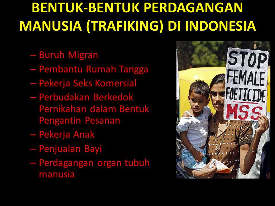 BENTUK-BENTUK PERDAGANGAN MANUSIA (TRAFIKING) DI INDONESIA – Buruh Migran – Pembantu Rumah Tangga – Pekerja Seks Komersial – Perbudakan Berkedok Pernikahan dalam Bentuk Pengantin Pesanan – Pekerja Anak – Penjualan Bayi – Perdagangan organ tubuh manusia