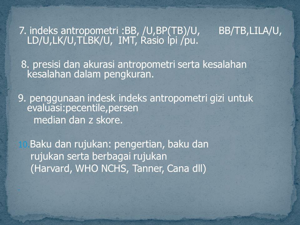 7. indeks antropometri :BB, /U,BP(TB)/U, BB/TB,LILA/U, LD/U,LK/U,TLBK/U, IMT, Rasio lpi /pu. 8. presisi dan akurasi antropometri serta kesalahan kesal