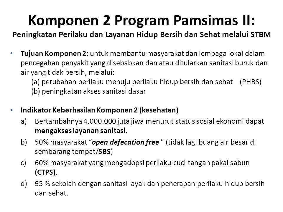 Komponen 2 Program Pamsimas II: Peningkatan Perilaku dan Layanan Hidup Bersih dan Sehat melalui STBM Tujuan Komponen 2: untuk membantu masyarakat dan lembaga lokal dalam pencegahan penyakit yang disebabkan dan atau ditularkan sanitasi buruk dan air yang tidak bersih, melalui: (a) perubahan perilaku menuju perilaku hidup bersih dan sehat (PHBS) (b) peningkatan akses sanitasi dasar Indikator Keberhasilan Komponen 2 (kesehatan) a)Bertambahnya 4.000.000 juta jiwa menurut status sosial ekonomi dapat mengakses layanan sanitasi.