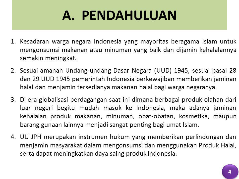 A. PENDAHULUAN 1.Kesadaran warga negara Indonesia yang mayoritas beragama Islam untuk mengonsumsi makanan atau minuman yang baik dan dijamin kehalalan