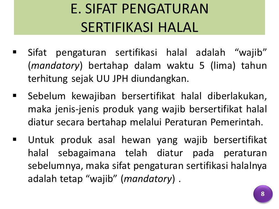 """E. SIFAT PENGATURAN SERTIFIKASI HALAL  Sifat pengaturan sertifikasi halal adalah """"wajib"""" (mandatory) bertahap dalam waktu 5 (lima) tahun terhitung se"""