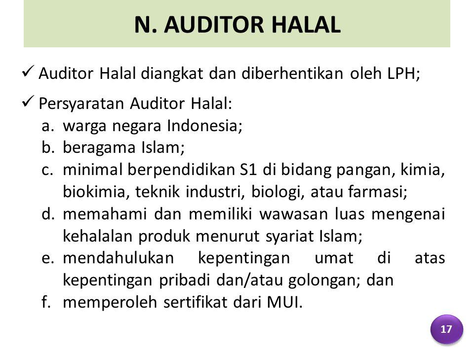 N. AUDITOR HALAL Auditor Halal diangkat dan diberhentikan oleh LPH; Persyaratan Auditor Halal: a.warga negara Indonesia; b.beragama Islam; c.minimal b