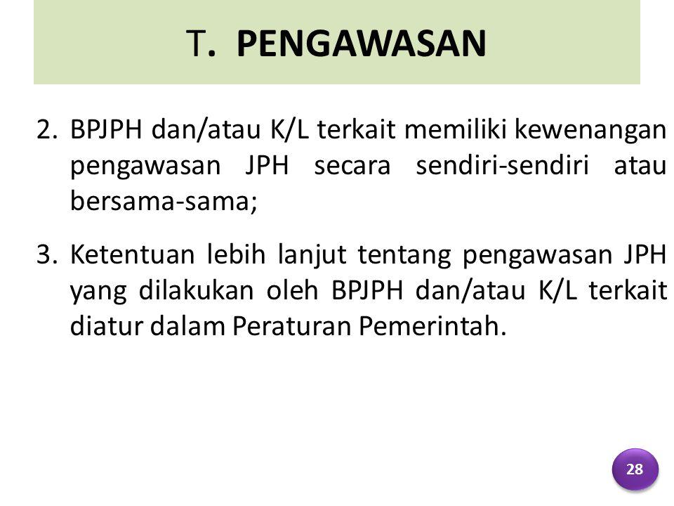 T. PENGAWASAN 2.BPJPH dan/atau K/L terkait memiliki kewenangan pengawasan JPH secara sendiri-sendiri atau bersama-sama; 3.Ketentuan lebih lanjut tenta