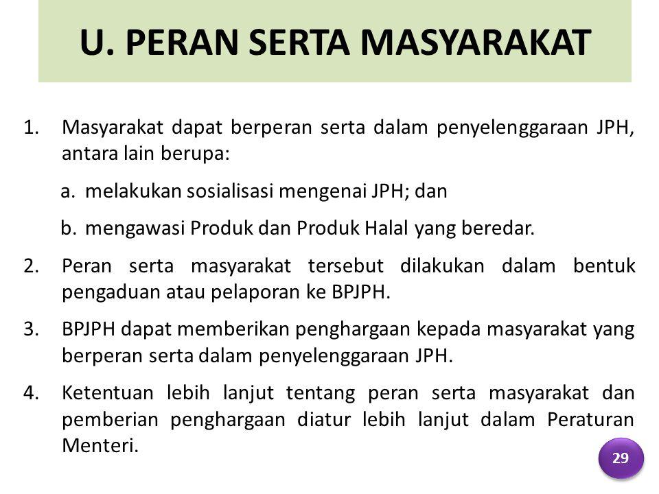 U. PERAN SERTA MASYARAKAT 1.Masyarakat dapat berperan serta dalam penyelenggaraan JPH, antara lain berupa: a.melakukan sosialisasi mengenai JPH; dan b