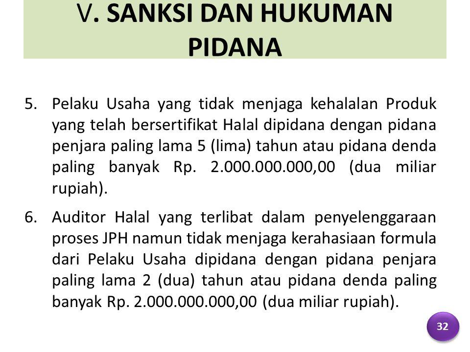 V. SANKSI DAN HUKUMAN PIDANA 5.Pelaku Usaha yang tidak menjaga kehalalan Produk yang telah bersertifikat Halal dipidana dengan pidana penjara paling l