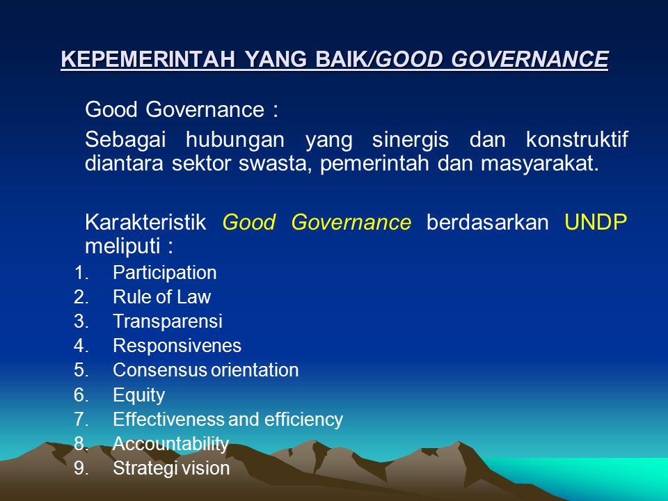 KEPEMERINTAH YANG BAIK/GOOD GOVERNANCE Good Governance : Sebagai hubungan yang sinergis dan konstruktif diantara sektor swasta, pemerintah dan masyara