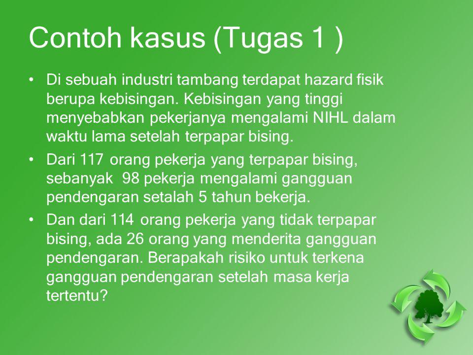 Contoh kasus (Tugas 1 ) Di sebuah industri tambang terdapat hazard fisik berupa kebisingan.