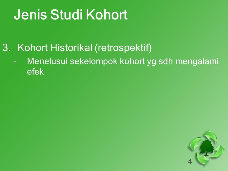 4 Jenis Studi Kohort 3.Kohort Historikal (retrospektif) –Menelusui sekelompok kohort yg sdh mengalami efek