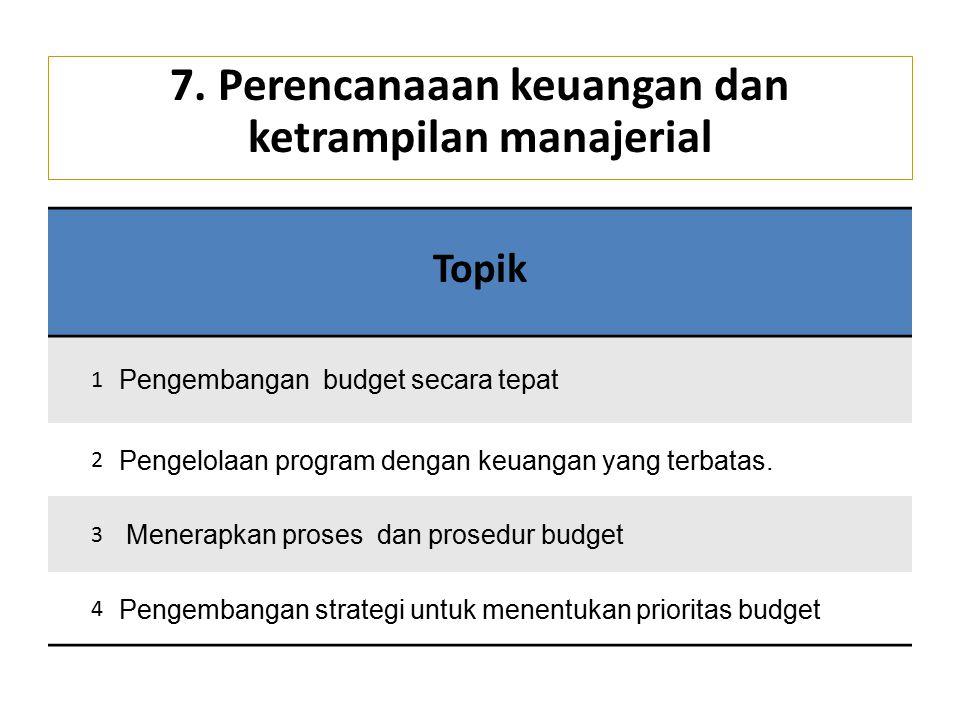 7. Perencanaaan keuangan dan ketrampilan manajerial Topik 1 Pengembangan budget secara tepat 2 Pengelolaan program dengan keuangan yang terbatas. 3 Me